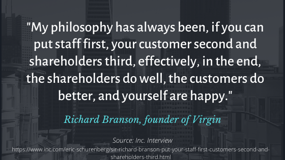 """""""My philosophy has always been, if you can put staff first, your customer second and shareholders third, effectively, in the end, the shareholders do well, the customers do better, and yourself are happy."""" A quote by Richard Branson, founder of Virgin. The source is an Inc. Interview."""
